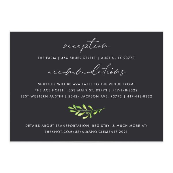 Calligraphic Botanical Wedding Enclosure Card front grey
