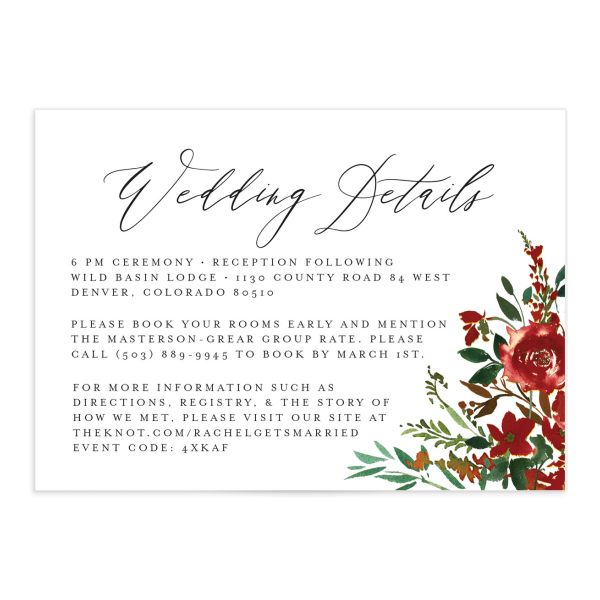 Cascading Altar Wedding Enclosure Card back burgundy