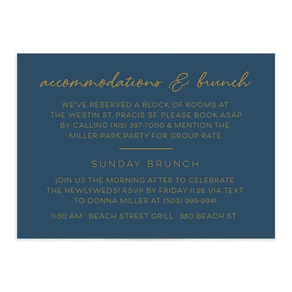 Gold Calligraphy Wedding Enclosure Card front blue