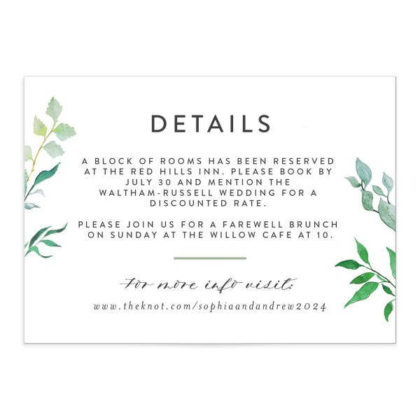Leafy Ampersand wedding details card in green catalog