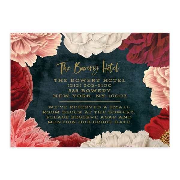 Midnight Peony Wedding Enclosure Card front