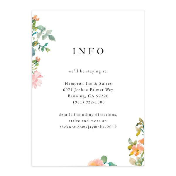 Minimal Floral Wedding Enclosure Card front