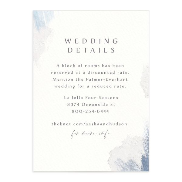 Minimal Brush Wedding Enclosure Card front blue