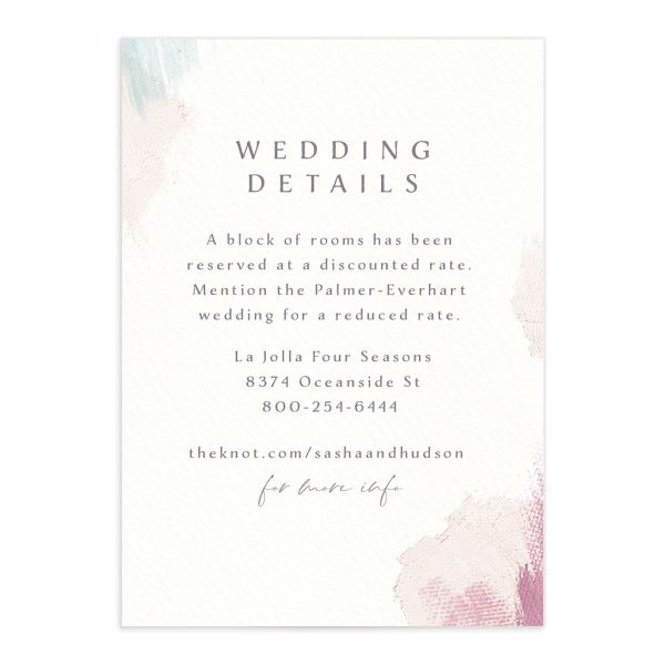 Minimal Brush Wedding Enclosure Card front pink