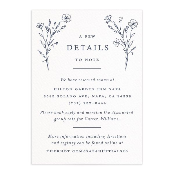 Natural Monogram Wedding Enclosure card front Blue