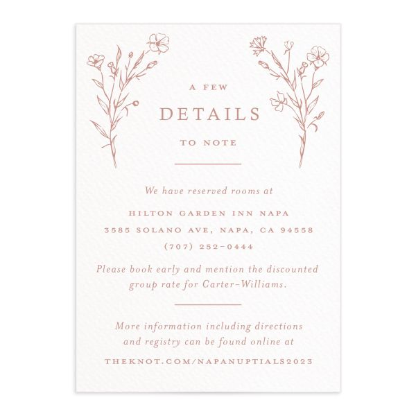 Natural Monogram Wedding Enclosure card front pink