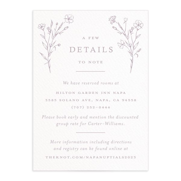 Natural Monogram Wedding Enclosure card front purple