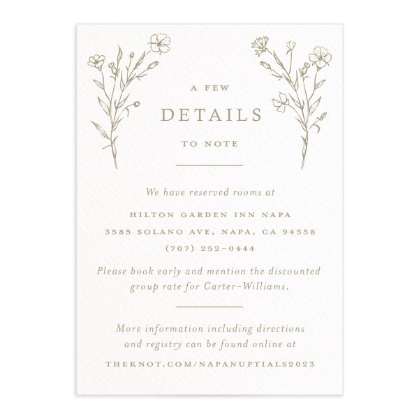 Natural Monogram Wedding Enclosure card front tan