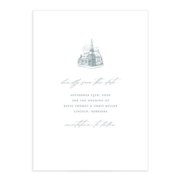 Classic Landscape wedding save the date catalog blue church