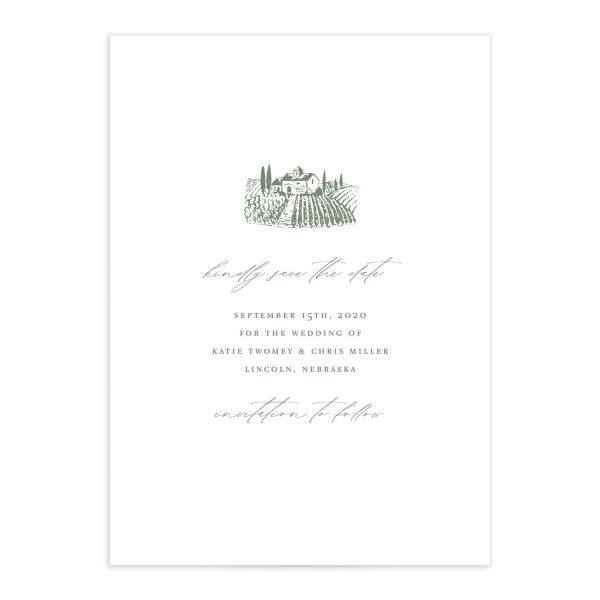 Classic Landscape wedding save the date catalog green vineyard