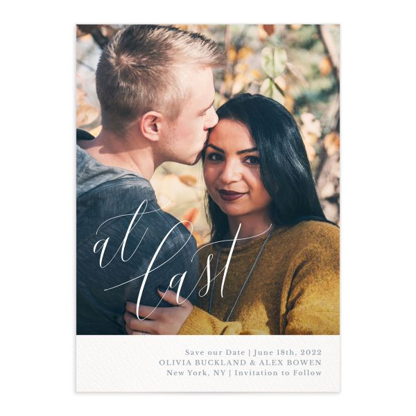 At Last save the date with photo front blue