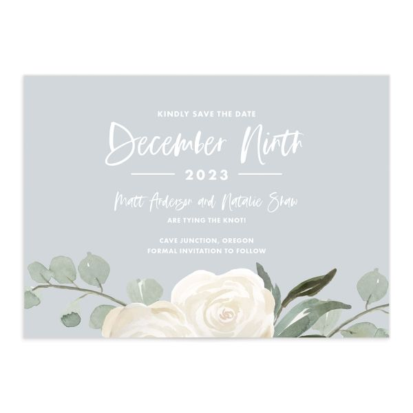 Wintry Floral Save the Date Card front white