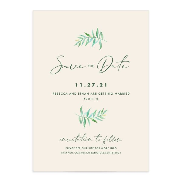 Calligraphic Botanical Save the Date Card front cream