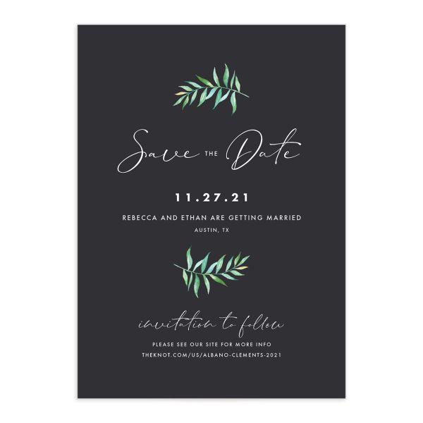 Calligraphic Botanical Save the Date Card front grey