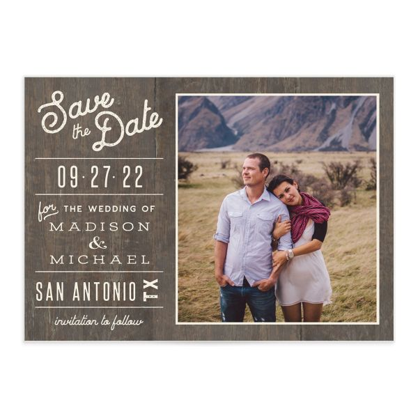 Custom State Wedding Save the Date Card front