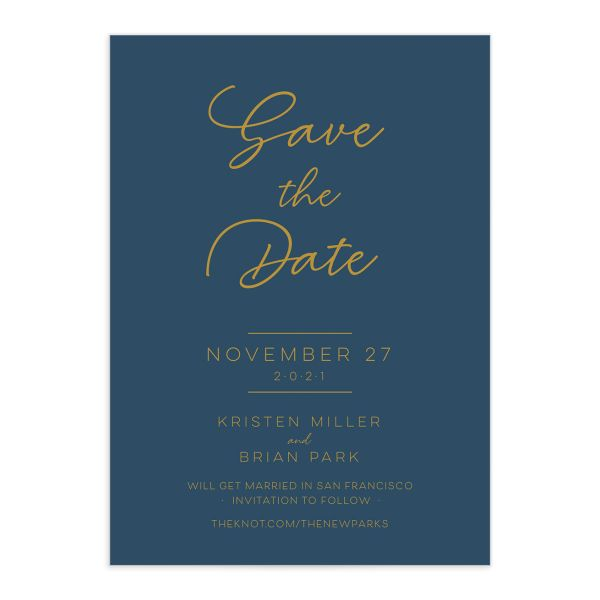 Gold Calligraphy Save the Date Card front blue
