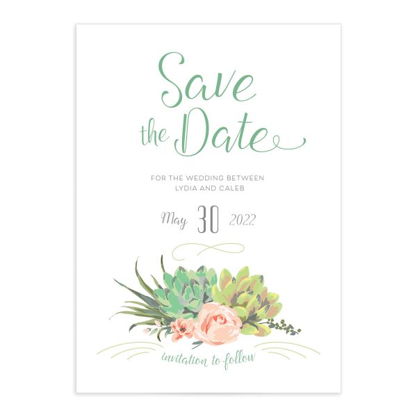 Romantic Succulents save the date front green