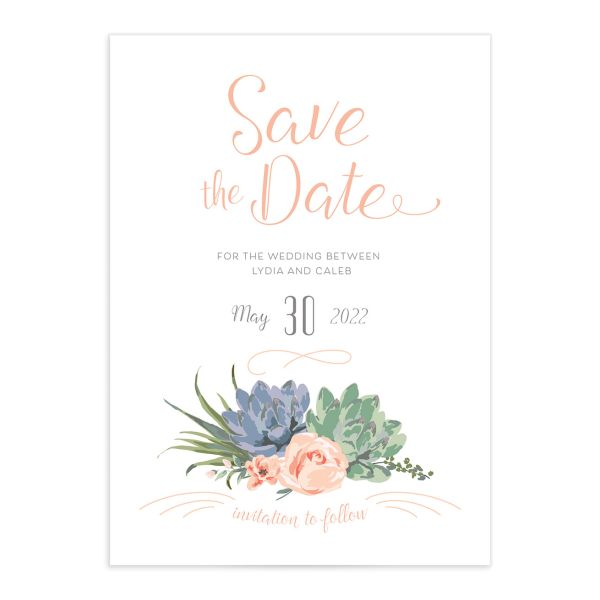 Romantic Succulents save the date front pink