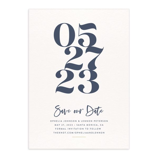 Modern Luxe Save the Date Card front blue