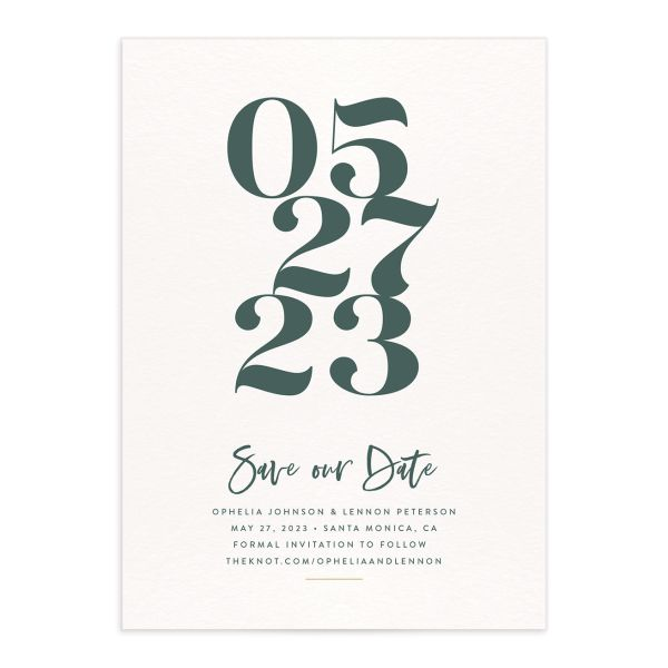 Modern Luxe Save the Date Card front green
