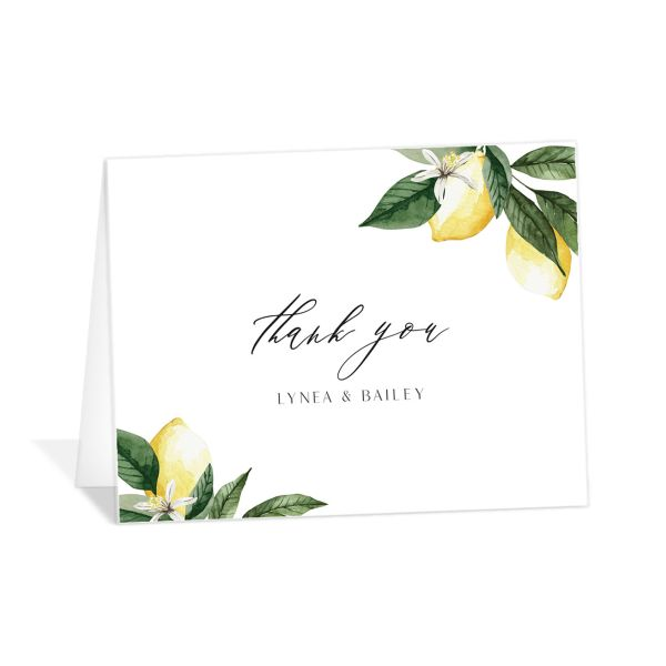 Botanical Lemon Thank You Card front