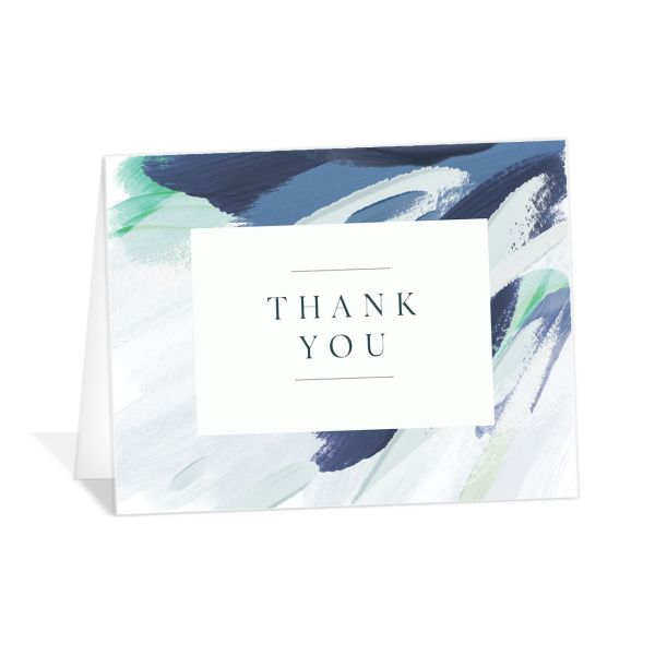 Floral Abstract Thank You Card front blue