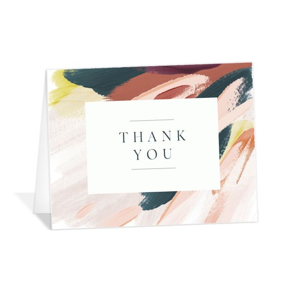 Floral Abstract Thank You Card front pink