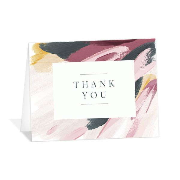 Floral Abstract Thank You Card front purple