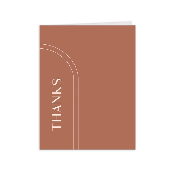 Modern Romantic thank you card terra cotta