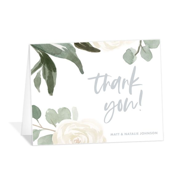 Wintry Floral Thank You Card front white