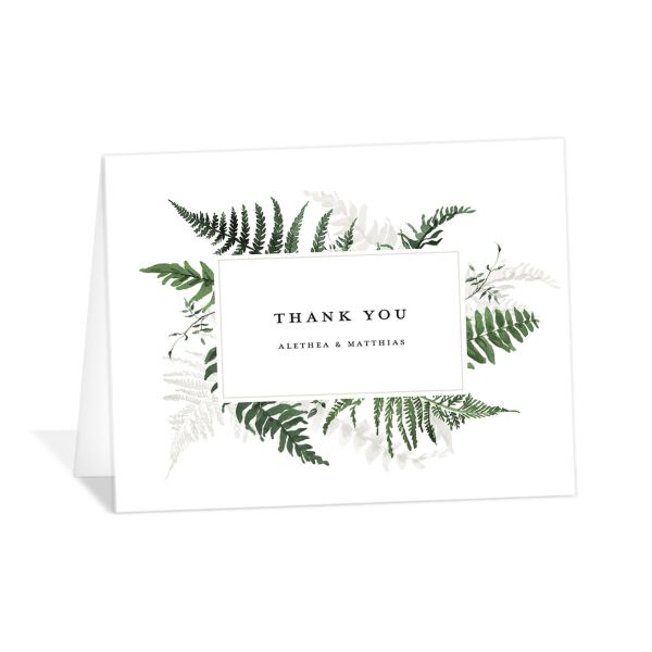 Woodsy Ferns thank you card dark green