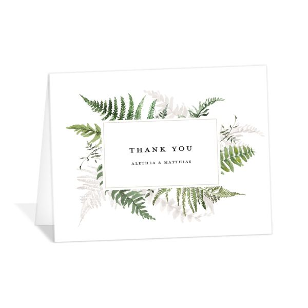 Woodsy Ferns thank you card light green