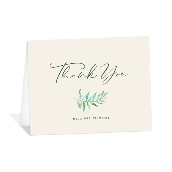 Calligraphic Botanical Thank You Card front cream