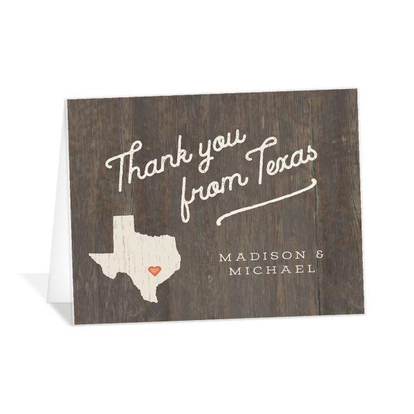 Custom State Wedding Thank You Card front