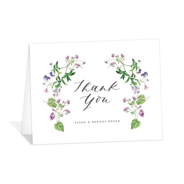 Enchanted Wildflower Wedding Thank You Card front purple