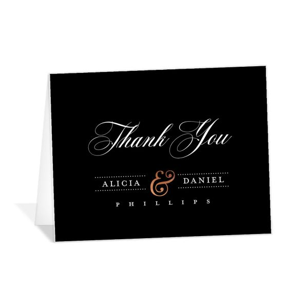 Formal Ampersand Thank You Card front black