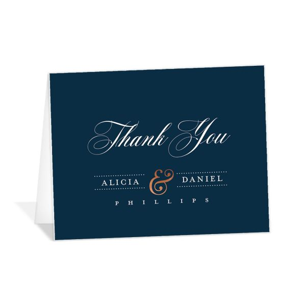 Formal Ampersand Thank You Card front blue
