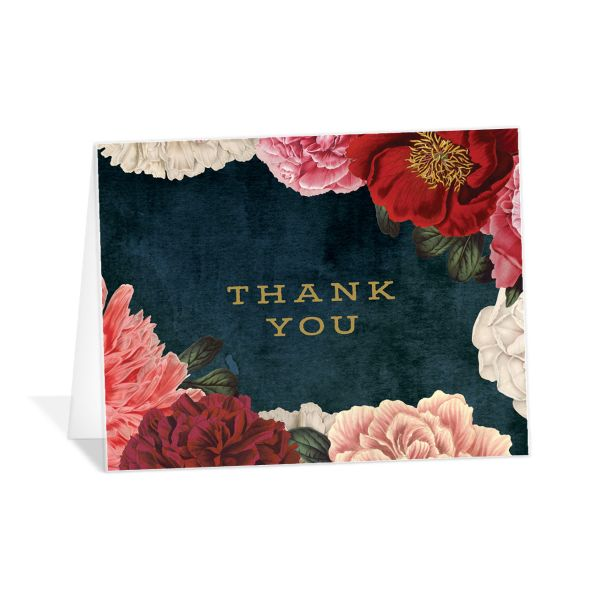 Midnight Peony Wedding Thank You Card front