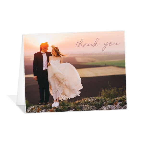 Gold Calligraphy Thank You Card front pink
