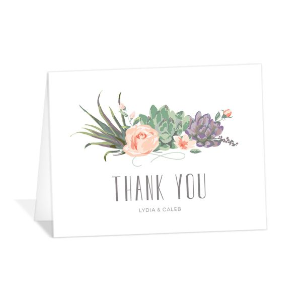 Romantic Succulents thank you card purple