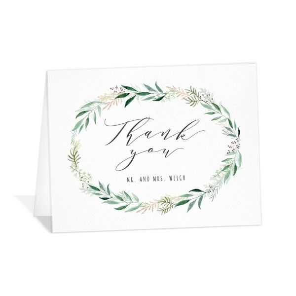 Rustic Wreath Wedding ThankYou Card front