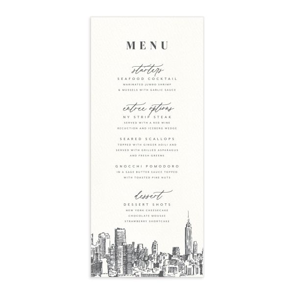 Love in New York Menu Card front grey