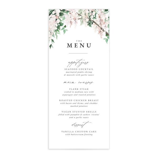 Romantic Wisteria Menu Card front pink