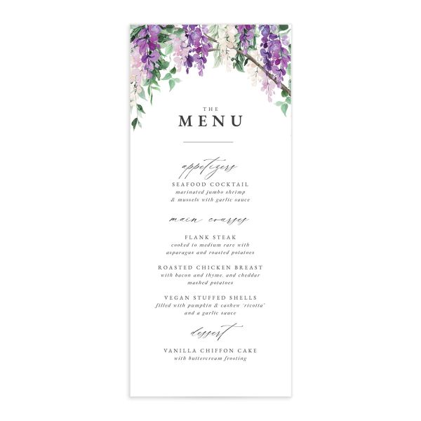 Romantic Wisteria Menu Card front purple