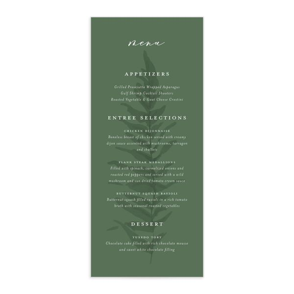Woodsy Ferns menu front dark green