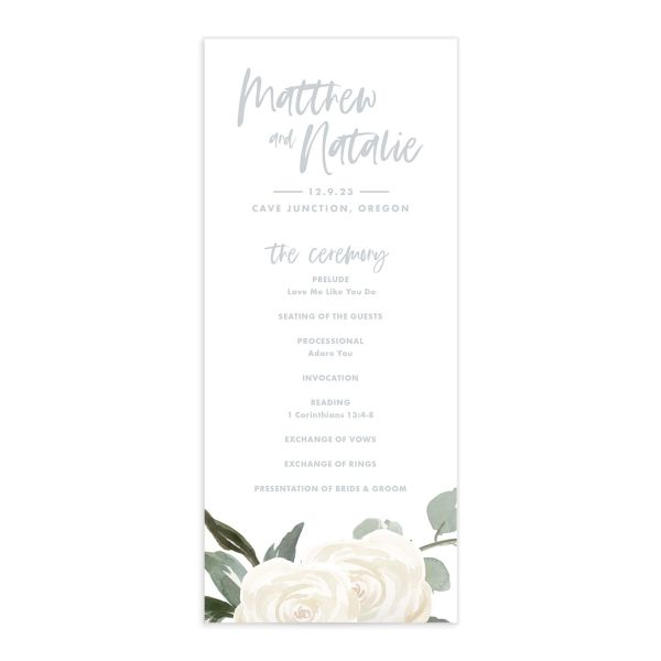 Wintry Floral Wedding Program front white