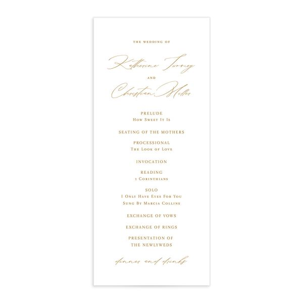 Classic Landscape Wedding Program Card front mustard