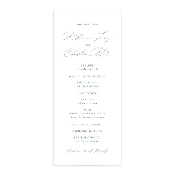 Classic Landscape Wedding Program Card front blue