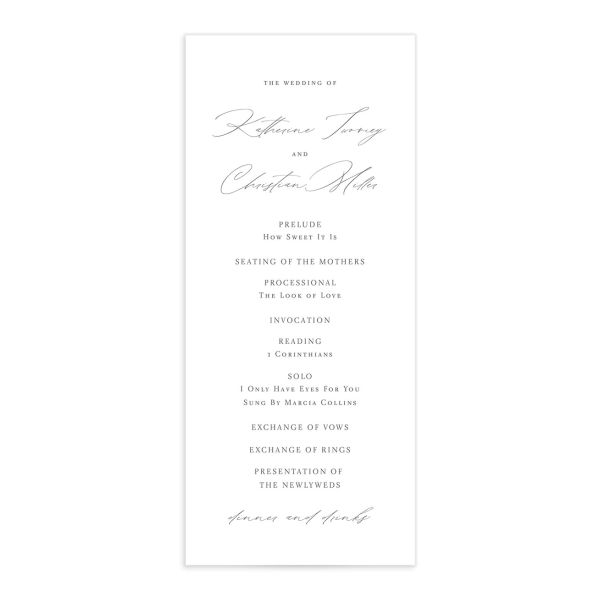 Classic Landscape Wedding Program Card front grey