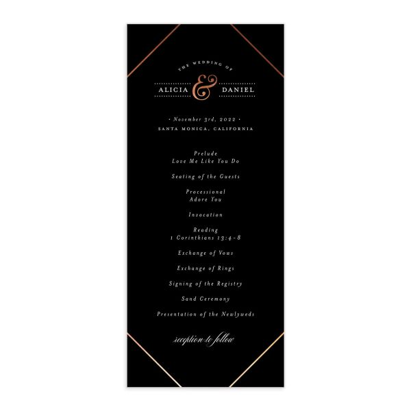 Formal Ampersand Wedding Program Card front black
